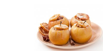 Receta El Vesubio: Manzanas asadas rellenas de crema de vainilla