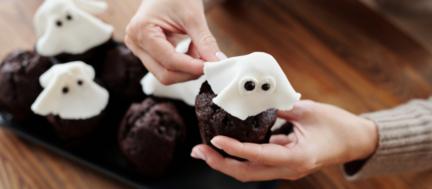 Muffins fantasma. Receta Halloween